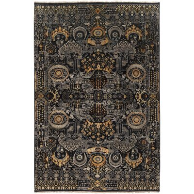Freya Hand-Knotted Medium Gray Area Rug Rug size: 36 x 56