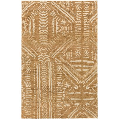 Amerie Hand-Knotted Camel/Cream Area Rug Rug size: Rectangle 4 x 6