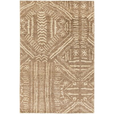 Amerie Hand-Knotted Dark Brown/Cream Area Rug Rug size: Rectangle 4 x 6