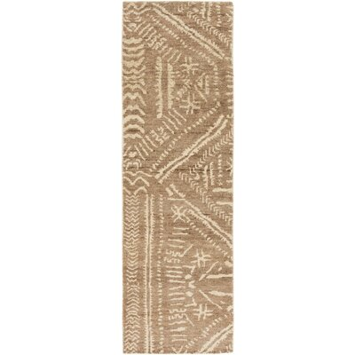 Amerie Hand-Knotted Dark Brown/Cream Area Rug Rug size: Runner 26 x 8