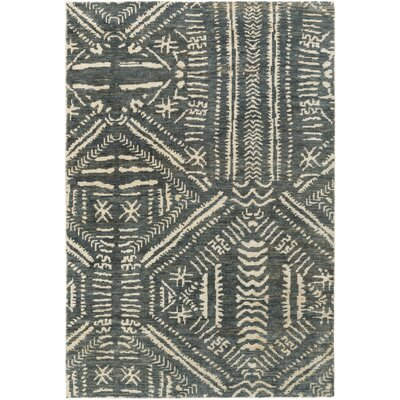 Amerie Hand-Knotted Teal/Cream Area Rug Rug size: 4 x 6