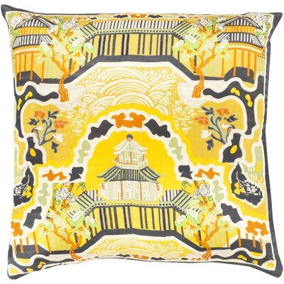 Genie 100% Silk Throw Pillow Cover Size: 22 H x 22 W x 0.25 D, Color: YellowBlack