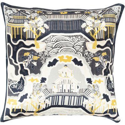 Genie 100% Silk Throw Pillow Cover Size: 22 H x 22 W x 0.25 D, Color: BlackBlue