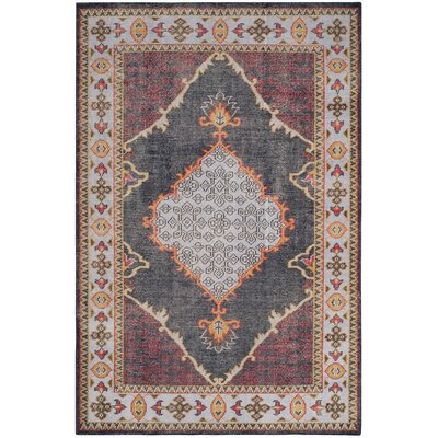 Hargrave Hand-Knotted Blue/Red Area Rug Rug Size: 4 x 6