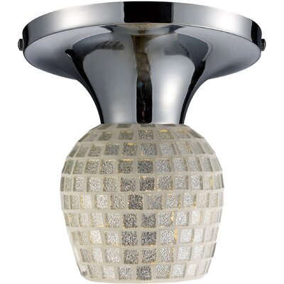 Ancelin 1-Light Semi Flush Mount with Silver Shade Finish: Dark Rust