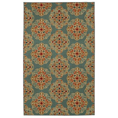 Taren Brown/Blue Area Rug Rug Size: Rectangle 5 x 7
