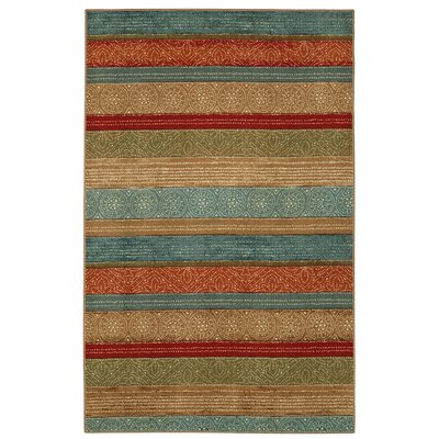 Elnora Samsun Batik Stripe Tan/Blue Area Rug Rug Size: Rectangle 76 x 10