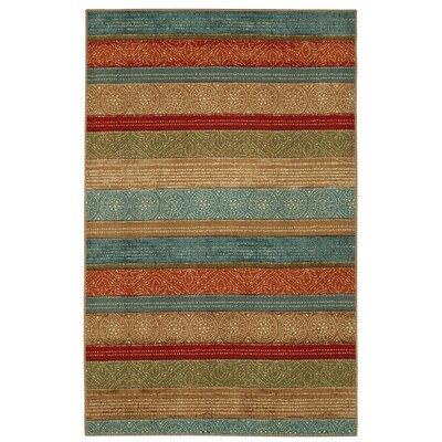 Taren Samsun Batik Stripe Tan/Blue Area Rug Rug Size: 5 x 7