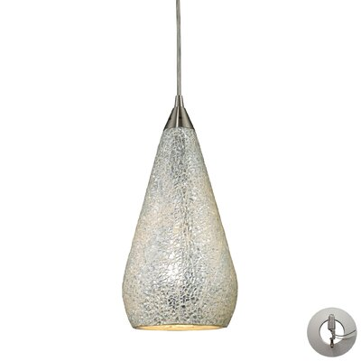 Angelette 1-Light Glass Shade Mini Pendant Shade Color: Silver/Multi