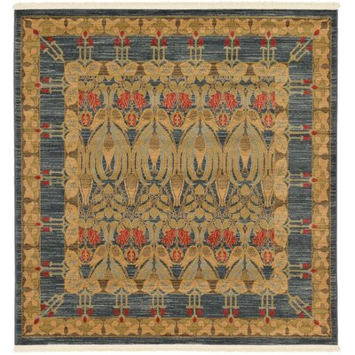 Fonciere Brown/Blue Area Rug Rug Size: Square 6