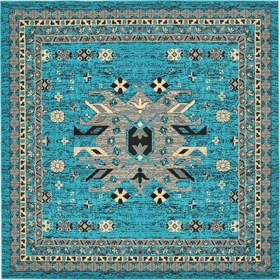 Sina Turquoise Area Rug Rug Size: Square 8
