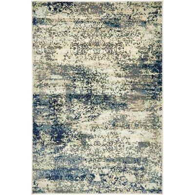 Sage Beige/Navy Blue Area Rug Rug Size: 9 x 12