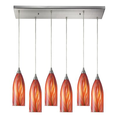 Ange 6-Light Glass Shade Kitchen Island Pendant