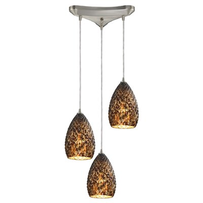 Apollina 3-Light Glass Shade Kitchen Island Pendant