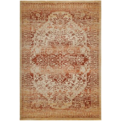 Nessadiou Rust/Creme Area Rug Rug Size: Rectangle 9 x 12