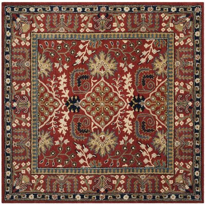 Genemuiden Hand-Tufted Red Area Rug Rug Size: Square 6