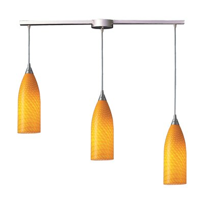 Ange 3-Light Linear Pendant Glass Type: White