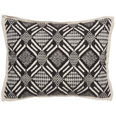 June Cotton Throw Pillow Color: Black/Ivory