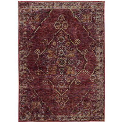 Rosalia Medallion Red/Gold Area Rug Rug Size: 52 x 76