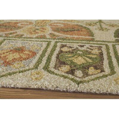 Glostrup Hand-Tufted Ivory/Green Outdoor Area Rug Rug Size: Runner 23 x 8