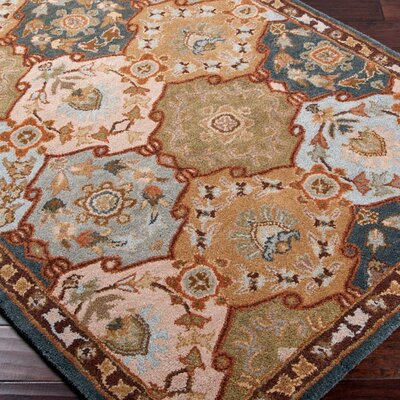 Topaz Brown/Blue Area Rug Rug Size: Round 6