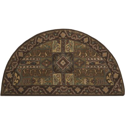 Brocade Dark Brown Area Rug Rug Size: Slice 2 x 4