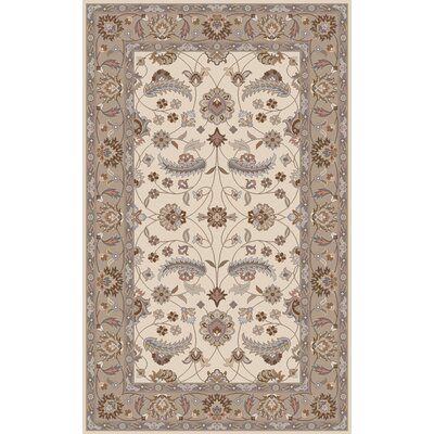 Keefer Antique White Floral Area Rug Rug Size: Round 6