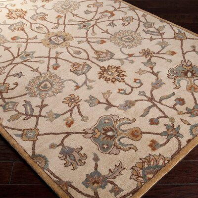 Topaz Hand-Woven Wool Beige Area Rug Rug Size: Rectangle 9 x 12