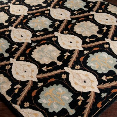 Keefer Jet Black/Gray Floral Area Rug Rug Size: 2 x 3