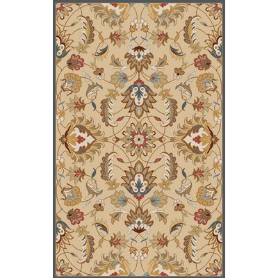 Topaz Blond Floral Area Rug Rug Size: Round 8