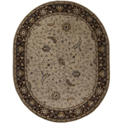 Topaz Brown/Tan Floral Area Rug Rug Size: Oval 8 x 10