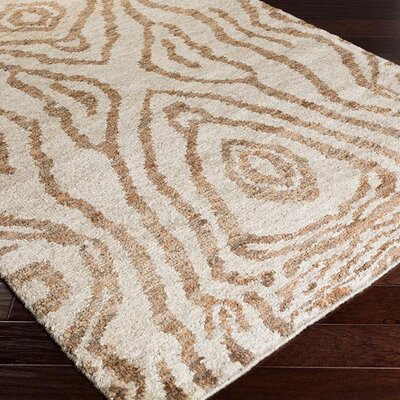 Pazar Hand-Knotted Light Gray/Taupe Area Rug Rug Size: 5 x 8