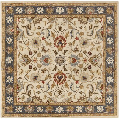 Topaz Hand-Tufted Tan/Blue Area Rug Rug size: Round 8