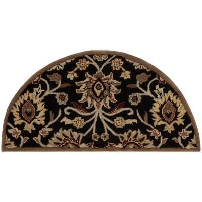 Topaz Hand-Tufted Black/Brown Area Rug Rug size: Round 6