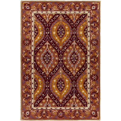 Benjamin Hand-Tufted Burgundy Area Rug Rug size: Rectangle 6 x 9