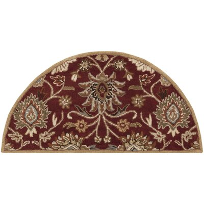 Topaz Hand-Tufted Burgundy Area Rug Rug size: Square 4