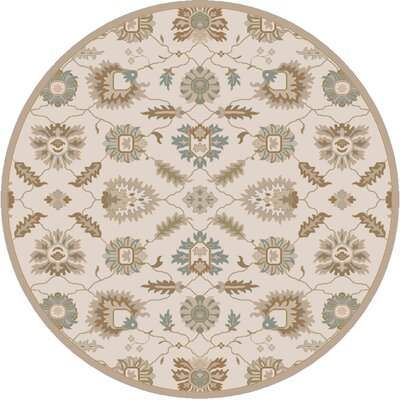 Keefer Hand-Tufted Tan Area Rug Rug size: Round 99