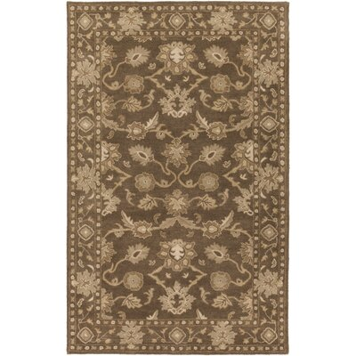 Topaz Hand-Tufted Dark Brown Area Rug Rug size: Round 6