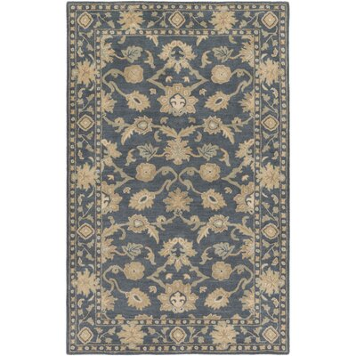 Topaz Hand-Tufted Black Area Rug Rug size: Oval 6 x 9