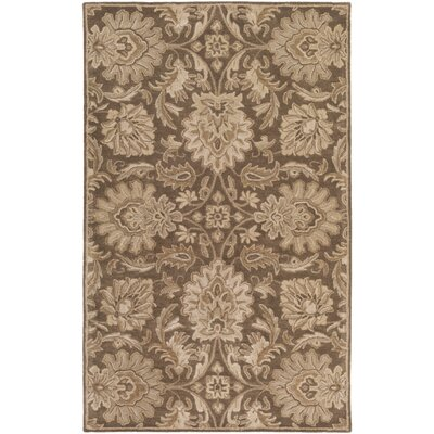 Topaz Hand-Tufted Dark Brown Area Rug Rug size: Oval 6 x 9