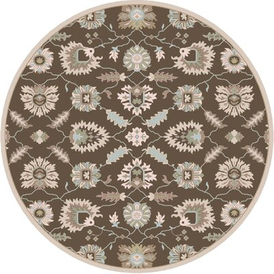 Keefer Hand-Tufted Oriental Dark Brown Area Rug Rug size: Round 4