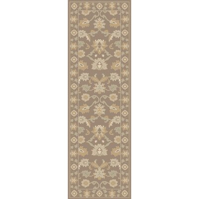 Keefer Hand-Tufted Taupe Area Rug Rug size: Oval 6 x 9