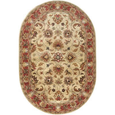 Topaz Hand-Tufted Camel/Burnt Orange Area Rug Rug size: Round 6'