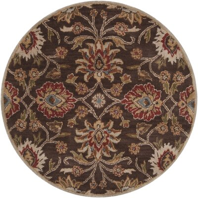 Topaz Hand-Tufted Wool Dark Brown Area Rug Rug size: Round 6