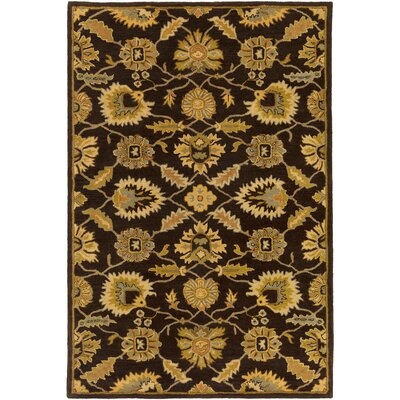 Keefer Hand-Tufted Dark Brown Area Rug Rug size: Round 4