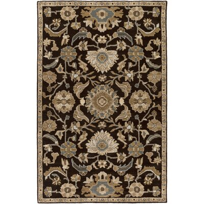 Topaz Hand-Tufted Dark Brown Area Rug Rug size: Round 4