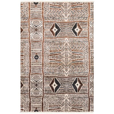 Seline Hand-Knotted Neutral/Brown Area Rug Rug Size: 9 x 13