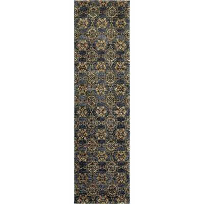 Rosalia Medallion Blue/Gold Area Rug Rug Size: Runner 22 x 83