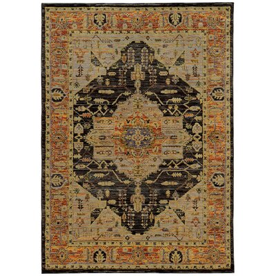 Rosalia Medallion Gold/Gray Area Rug Rug Size: 710 x 113