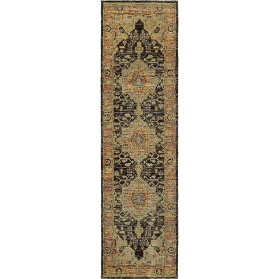 Rosalia Medallion Gold/Gray Area Rug Rug Size: Runner 22 x 83